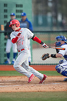 Ellis Bitar (24) of the Cornell Big Red follows through on his swing against the Seton Hall Pirates at The Ripken Experience on February 27, 2015 in Myrtle Beach, South Carolina.  The Pirates defeated the Big Red 3-0.  (Brian Westerholt/Four Seam Images)