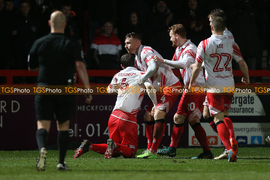 Stevenage players celebrate their third goal during Stevenage vs Leyton Orient, Sky Bet EFL League 2 Football at the Lamex Stadium on 28th February 2017