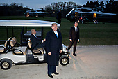 U.S. President Donald Trump speaks to members of the media after stepping out of a golf cart following a dinner with Emmanuel Macron, France's president, right, at the Mount Vernon estate of first U.S. President George Washington in Mount Vernon, Virginia, U.S., on Monday, April 23, 2018.  As Macron arrives for the first state visit of Trump's presidency, the U.S. leader is threatening to upend the global trading system with tariffs on China, maybe Europe too. <br /> Credit: Andrew Harrer / Pool via CNP