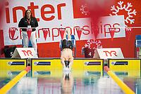 Picture by Allan McKenzie/SWpix.com - 16/12/2017 - Swimming - Swim England Nationals - Swim England Winter Championships - Ponds Forge International Sports Centre, Sheffield, England - Harry Devlin dives in, Swim England, TYR, branding.