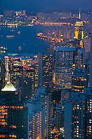 Cityscape from Victoria Peak, Kowloon and Hong Kong, China.