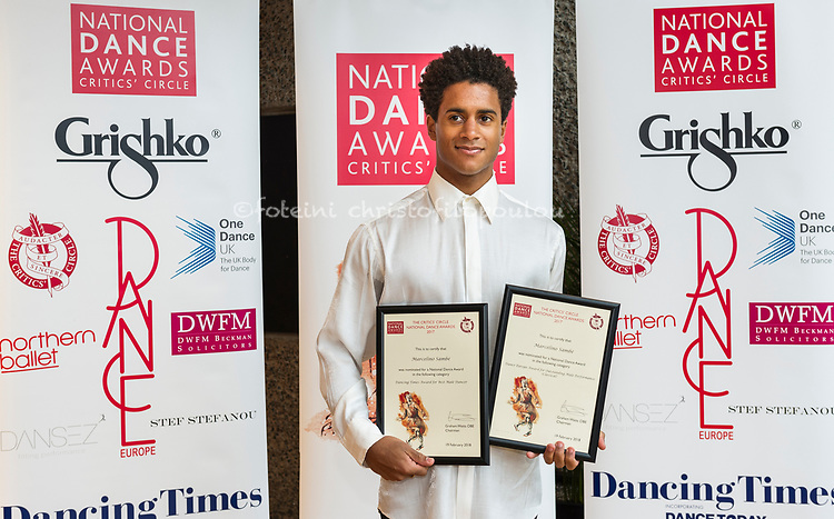London, UK. 19.02.2018. The Critics&rsquo; Circle National Dance Awards 2017 took place at the Barbican &amp; presented by Dane Hurst and Annabelle Lopez Ochoa, 19 Feb 2018. Photo - &copy; Foteini Christofilopoulou. <br /> <br /> <br /> Emerging Artist Award (Sponsored by L &amp; M Trust)<br /> <br /> Harry Alexander &ndash; dancer, Michael Clark Company/Julie Cunningham &amp; Company<br /> Vincenzo Lamagna &ndash; composer, Akram Khan&rsquo;s Giselle, English National Ballet <br /> Dickson Mbi &ndash; dancer, Boy Blue Entertainment/Russell Maliphant Company<br /> Botis Seva &ndash; choreography for Far From the Norm and Scottish Dance Theatre<br /> Francesca Velicu &ndash; first artist, English National Ballet <br /> <br /> <br /> Dansez Award for Best Independent Company<br /> <br /> Avant Garde Dance<br /> Ballet Cymru<br /> HeadSpaceDance<br /> Rosie Kay Dance Company <br /> Vincent Dance Theatre<br /> <br /> <br /> The One Dance UK Industry Award, given in memory of Jane Attenborough<br /> <br /> Mary Brennan<br /> <br /> <br /> Outstanding Male Performance (Modern) (Sponsored by The Critics&rsquo; Circle)<br /> <br /> Christopher Akrill in Stepmother/Stepfather for Arthur Pita &amp; HeadSpaceDance<br /> Mithkal Alzghair in Displacement <br /> Karl Fagerlund Brekke in Stepmother/Stepfather for Arthur Pita &amp; HeadSpaceDance<br /> Robert Fairchild as Jerry Mulligan in An American in Paris<br /> Dickson Mbi in Blak Whyte Gray for Boy Blue Entertainment<br /> <br /> <br /> Best Classical Choreography (Sponsored by The Ballet Association)<br /> <br /> Akram Khan &ndash; Akram Khan&rsquo;s Giselle for English National Ballet<br /> Crystal Pite &ndash; Emergence for Scottish Ballet <br /> Crystal Pite &ndash; Flight Pattern for The Royal Ballet<br /> Liam Scarlett &ndash; Symphonic Dances for The Royal Ballet <br /> Kenneth Tindall &ndash; Casanova for Northern Ballet<br /> <br /> <br /> Dance Europe Award for Outstanding Male Performance (Classical)<br /> <br /> Israel Galv&aacute;n in FLA.CO.MEN for Cĩa Israel Galv&aacute;n <br /> Christopher Harrison in MC 14/22 (Ceci est mon corps) for Scottish Ballet<br /> Brandon Lawrence in Wink for Birmingham Royal Ballet<br /> Marcelino Samb&eacute; as Colas in La Fille mal gard&eacute;e for The Royal Ballet<br /> James Streeter as Albrecht in Akram Khan&rsquo;s Giselle for English National Ballet <br /> <br /> <br /> Best Modern Choreogra