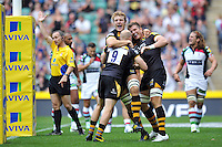 London Wasps players celebrate Joe Launchbury's try. Aviva Premiership Double Header match, between London Wasps and Harlequins on September 7, 2013 at Twickenham Stadium in London, England. Photo by: Patrick Khachfe / Onside Images