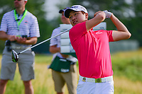 Jeunghun Wang (KOR) watches his tee shot on 12 during Thursday's round 1 of the 117th U.S. Open, at Erin Hills, Erin, Wisconsin. 6/15/2017.<br /> Picture: Golffile | Ken Murray<br /> <br /> <br /> All photo usage must carry mandatory copyright credit (&copy; Golffile | Ken Murray)