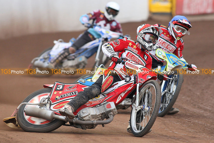 Heat 9: Norbert Kosciuch (red), Troy Batchelor (blue) and Piotr Swiderski - Peterborough Panthers vs Lakeside Hammers - Elite League Speedway at the Showground, Peterborough - 18/07/11 - MANDATORY CREDIT: Gavin Ellis/TGSPHOTO - Self billing applies where appropriate - 0845 094 6026 - contact@tgsphoto.co.uk - NO UNPAID USE.