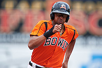 Bowie Baysox right fielder Henry Urrutia (5) running the bases during the first game of a doubleheader against the Akron RubberDucks on June 5, 2016 at Prince George's Stadium in Bowie, Maryland.  Bowie defeated Akron 6-0.  (Mike Janes/Four Seam Images)