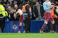 Robert Snodgrass of West Ham United gives his shirt to a fan during Chelsea vs West Ham United, Premier League Football at Stamford Bridge on 30th November 2019