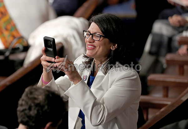 United States Representative Rashida Tlaib (Democrat of Michigan) takes a photo prior to US President Donald J. Trump delivering his second annual State of the Union Address to a joint session of the US Congress in the US Capitol in Washington, DC on Tuesday, February 5, 2019. Photo Credit: Alex Edelman/CNP/AdMedia