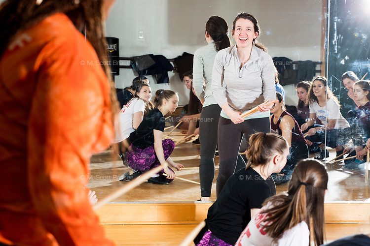 Kelly McAuley leads a Tap Performance class at the Holmes Athletic Center at Simmons College, one of the Colleges of the Fenway, in Boston, Massachusetts, USA, on Mon., March 13, 2017. McAuley has been teaching tap and jazz dancing at the Colleges of the Fenway for approximately 9 years.