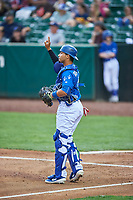 Ramon Rodriguez (7) of the Ogden Raptors on defense against the Grand Junction Rockies at Lindquist Field on June 17, 2019 in Ogden, Utah. The Rockies defeated the Raptors 9-0. (Stephen Smith/Four Seam Images)