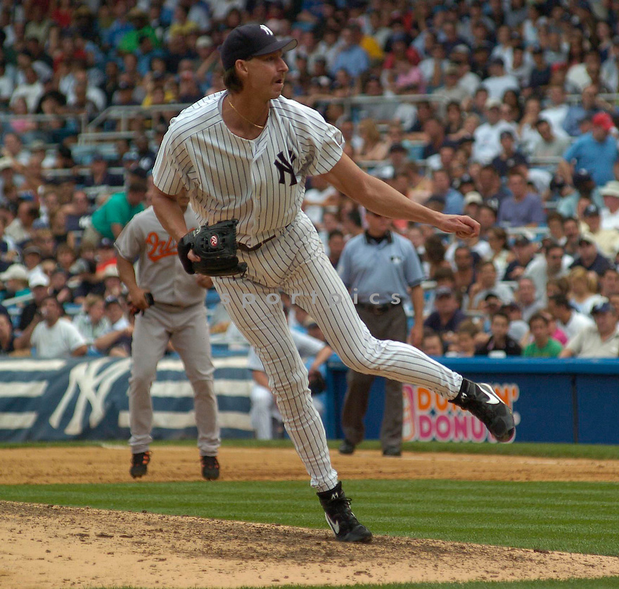 Randy Johnson, of the New York Yankees in action against the Baltimore Orioles on July 5, 2005...Yankees win 12-3....Chris Bernacchi / SportPics