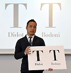 August 5, 2015, Tokyo, Japan - Japanese designer Kenjiro Sano denies an alleged plagiarism during a news conference in Tokyo on Wednesday, August 5, 2015. Belgian designer Olivier Debie has claimed that the recently unveiled emblem Sano designed for the 2020 Tokyo Olympics resembles the logo Debie designed for a Belgian theater. Debie sent a letter to the International Olympic Committee and the Tokyo Olympics Organizing Committee seeking its retraction. (Photo by Natsuki Sakai/AFLO) AYF -mis-
