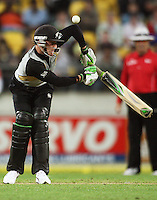 NZ's Brendon McCullum plays an awkward shot during 2nd Twenty20 cricket match match between New Zealand Black Caps and West Indies at Westpac Stadium, Wellington, New Zealand on Friday, 27 February 2009. Photo: Dave Lintott / lintottphoto.co.nz