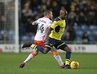 Blackpool's Jay Spearing battles with Oxford United's Wes Thomas<br /> <br /> Photographer Mick Walker/CameraSport<br /> <br /> The EFL Sky Bet League One - Rochdale v Blackpool - Monday 1st January 2018 - Spotland Stadium - Rochdale<br /> <br /> World Copyright &copy; 2018 CameraSport. All rights reserved. 43 Linden Ave. Countesthorpe. Leicester. England. LE8 5PG - Tel: +44 (0) 116 277 4147 - admin@camerasport.com - www.camerasport.com