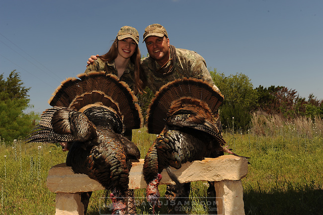 TURKEY HUNTING .16 year old girl with her first Turkey.5G ranch Stonewall county texas