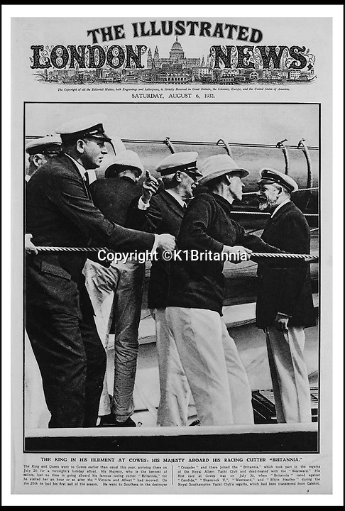 BNPS.co.uk (01202 558833)<br /> Pic: K1Britannia/BNPS<br /> <br /> ***Please Use Full Byline***<br /> <br /> THe front page of the London Illustrated News, Augut 6th 1932. <br /> <br /> An 8 million pounds appeal has been launched to resurrect one of the most famous and best loved racing yachts of all time - the 'King's yacht' Britannia.<br /> <br /> The historic 177ft yacht was built for playboy prince Albert in 1893 and became an instant star of the sailing scene, winning 33 of 43 prestigious races  in her first year alone.<br /> <br /> The stunning Royal yacht became known the world over and enjoyed an illustrious racing career at the hands of Albert, who went on to become King Edward VII.<br /> <br /> Edward's son George V continued the love affair with Britannia, dubbed 'the King's yacht', so much so that on his death in 1936 she was deliberately sunk off the Isle of Wight.<br /> <br /> Now, 78 years on, campaigners are nearing the final stages of a project to complete an an inch-perfect replica of Britannia which has been 20 years in the making.<br /> <br /> The instantly recognisable hull is finished but around six million pounds is needed to transform it into a yacht worthy of Royalty. <br /> <br /> The yacht, which will cost an extra one million pounds a year to run, will then be taken all round the world so it can be enjoyed by charities and future generations.