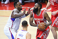 02/22/15 Los Angeles, CA: Los Angeles Clippers forward Glen Davis #0 and Houston Rockets guard James Harden #13 in action  during an NBA game played at Staples Center.