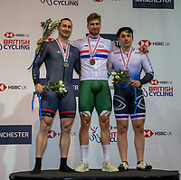 26th January 2020; National Cycling Centre, Manchester, Lancashire, England; HSBC British Cycling Track Championships; Men's keirin medallists from L to R Matt Roper Black Line silver, Joseph Truman Team Inspired gold, Niall Monks Glasgow track RC bronze