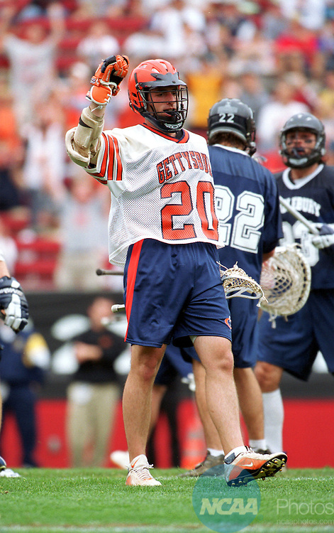 26 MAY 2002: Attacker Ric Bremer (20) of Gettysburg College celebrates after scoring one of his three goals during the Division III Men's Lacrosse Championships held at Rutgers Stadium in Piscataway, NJ. Middlebury College went on to defeat Gettysburg College 14-9 in overtime to capture the championship title. Larry French/NCAA Photos