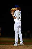 Rancho Cucamonga Quakes starting pitcher Dustin May (36) looks to his catcher for the sign during a California League game against the Lake Elsinore Storm at LoanMart Field on May 19, 2018 in Rancho Cucamonga, California. Lake Elsinore defeated Rancho Cucamonga 10-7. (Zachary Lucy/Four Seam Images)