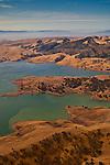 Aerial over the Los Vaqueros Reservoir, Contra Costa County, California