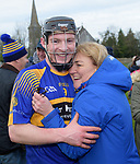 Newmarket player Sean O Connor is congratulated by his mother Cepta following their win over Sixmilebridge in the Clare Champion Cup final at Clonlara. Photograph by John Kelly.