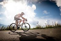 Toms Skujins (LVA/Trek-Segafredo) up the finish climb & the highest peak of the 2020 #TdF: the Col de la Loze (HC/2304m/21,5km @7,8%)<br /> <br /> Stage 17 from Grenoble to Méribel - Col de la Loze (170km)<br /> <br /> 107th Tour de France 2020 (2.UWT)<br /> (the 'postponed edition' held in september)<br /> <br /> ©kramon
