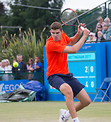 June 15th 2017, Nottingham, England; ATP Aegon Nottingham Open Tennis Tournament day 6;  Reilly Opelka of USA in action