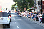 Thousands of mourners lined the route through downtown Carson City as a procession travels to a memorial service for Carson City Sheriff's Deputy Carl Howell in Reno, Nev., on Thursday, Aug. 20, 2015. Howell was shot and killed early Saturday morning after responding to a domestic violence call. (Cathleen Allison/Las Vegas Review-Journal)