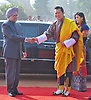 """KING AND QUEEN OF BHUTAN VISIT INDIA.The King of Bhutan, His Majesty Jigme Khesar Namgyel Wangchuck being welcomed by Indian Prime Minister Dr. Manmohan Singh, at Rashtrapati Bhavan, New Delhi _25/01/2013. .King Wangchuk who was accompanied by Queen Jetsun Pema Wangchuck was the Chief Guest at the Indian Republic Day celebrations..Mandatory Photo Credit: ©Meena/Newspix International..**ALL FEES PAYABLE TO: """"NEWSPIX INTERNATIONAL""""**..PHOTO CREDIT MANDATORY!!: NEWSPIX INTERNATIONAL(Failure to credit will incur a surcharge of 100% of reproduction fees)..IMMEDIATE CONFIRMATION OF USAGE REQUIRED:.Newspix International, 31 Chinnery Hill, Bishop's Stortford, ENGLAND CM23 3PS.Tel:+441279 324672  ; Fax: +441279656877.Mobile:  0777568 1153.e-mail: info@newspixinternational.co.uk"""