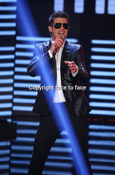 Robin Thicke at <br /> Finale X Factor TV Show, Season 2013, Hilversum, Netherlands.<br />  July 5th,<br /> Credit: All Access/face to face<br /> - No Rights for Belgium, Luxembourg and Netherlands -
