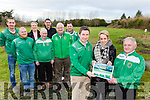 Castleisland AFC soccer club with Castleisland Community who are developing a new all weather facility behind the school launching the fundraising drive on the site were front l-r: Patrick O'Rourke CAFC Chairman, Carmel Kelly Principal, Georgie O'Callaghan CAFC, back l-r: Aidan O'Callaghan, John Coffey, Teresa Landers, Sean McCarthy, Donnacha Hickie, John Mitchell and Kevin Moran