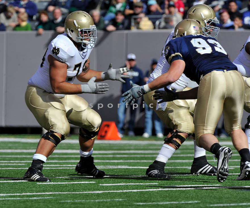 Oct 23, 2010; Notre Dame OL Trevor Robinson (78) during  game against Navy.Navy won 35-17 at  The New Meadowlands Stadium East Rutherford, NJ. Mandatory Credit: Tomasso DeRosa