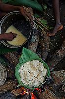 At the camp, preparation of the evening meal. They cook in a pot the wild yams dug up by the women during the day.///Au campement préparation du repas du soir. Dans la marmite l'on cuit de l'igname sauvage déterré par les femmes dans la journée.