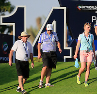 Shane Lowry's Dad Brendan, brother Alan with his girlfriend Kate Whyte on the 14th tee during the Pro-Am for the DP World Tour Championship at the Jumeirah Golf Estates in Dubai, UAE on Monday 16/11/15.<br /> Picture: Golffile | Thos Caffrey<br /> <br /> All photo usage must carry mandatory copyright credit (&copy; Golffile | Thos Caffrey)
