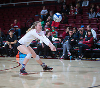 STANFORD, CA - December 1, 2018: Meghan McClure at Maples Pavilion. The Stanford Cardinal defeated Loyola Marymount 25-20, 25-15, 25-17 in the second round of the NCAA tournament.
