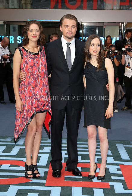 "WWW.ACEPIXS.COM . . . . .  ..... . . . . US SALES ONLY . . . . .....July 8 2010, New York City....Marion Cotillard, Leonardo DiCaprio and Ellen Page at the World premiere of ""Inception"" on July 8 2010 in London....Please byline: FAMOUS-ACE PICTURES... . . . .  ....Ace Pictures, Inc:  ..Tel: (212) 243-8787..e-mail: info@acepixs.com..web: http://www.acepixs.com"