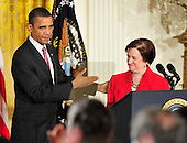 United States President Barack Obama gestures towards Elena Kagan after making remarks at a reception marking the U.S. Senate confirmation of her nomination as Associate Justice of the U.S. Supreme Court in the East Room of the White House in Washington, D.C. on Friday, August 6, 2010..Credit: Ron Sachs / CNP