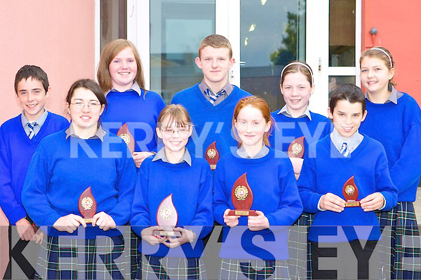 ATHLETIC AWARDS: The Winners of the Athletic awards at the Milltown secondary school awards ceremony in the school on Tuesday l-r: Kathleen Maddigan, Maria Flynn, Karen Flynn, John Foley, Laoise Flynn, Ciara Coffey and Denis Hayes.   Copyright Kerry's Eye 2008