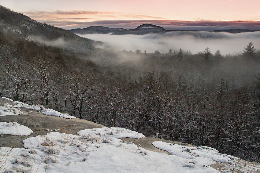 """PANTHERTOWN WINTER"" -- A late December sunrise view from the Salt Rock of Panthertown Valley in western North Carolina. The valley is often called the Yosemite of the East for its many cliffs and waterfalls."