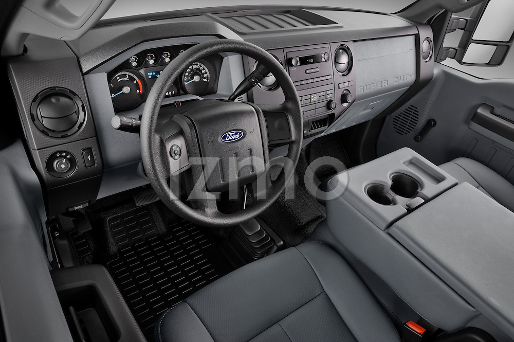 High angle dashboard view of a 2011 Ford F450 Crew Cab