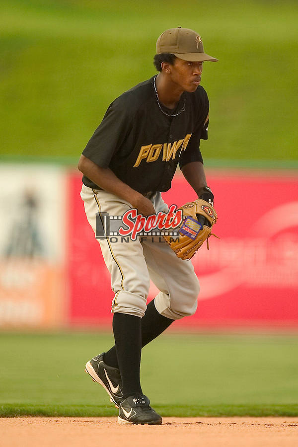 West Virginia Power shortstop Alcides Escobar is ready on defense versus Kannapolis, August 19, 2005.
