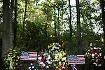 July 3, 2008. Pinetown, NC.. The funeral of Spc. Joel A. Taylor, assigned to the 1st Squadron, 3rd Armored Cavalry Regiment, Fort Hood, Texas; died June 25 in Mosul, Iraq, of wounds sustained when his vehicle encountered an improvised explosive device on June 24, 2008. He was 20.. Wreaths and flowers given in support of the Taylor family. Spc. Taylor's father is the local fire chief and many members of his department and others in the area sent condolences.