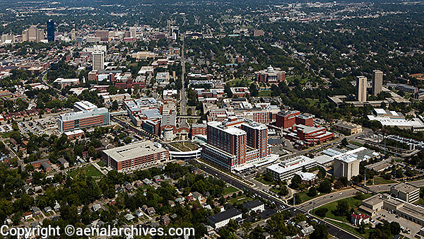 aerial photograph, Chandler Medical Center University of Kentucky, Lexington, Kentucky