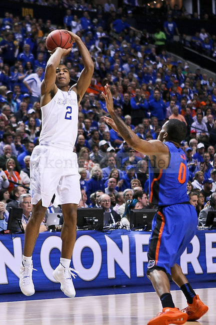 Kentucky guard Aaron Harrison shoots a three point shot during the second half of the third round of the SEC tournament in Nashville, Tenn., on Friday, March 13, 2015. Photo by Jonathan Krueger | Staff
