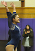 Jessica Lopez of Plainview JFK concludes her floor routine during a Nassau County varsity gymnastics meet against Massapequa at McKenna Elementary School on Monday, Feb. 1, 2016. She scored a 9.4 in the event to help Plainview JFK to a 164.7-163.6 win.