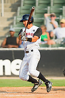 Tyler Saladino #1 of the Kannapolis Intimidators follows through on his swing against the Hagerstown Suns at Fieldcrest Cannon Stadium August 8, 2010, in Kannapolis, North Carolina.  Photo by Brian Westerholt / Four Seam Images