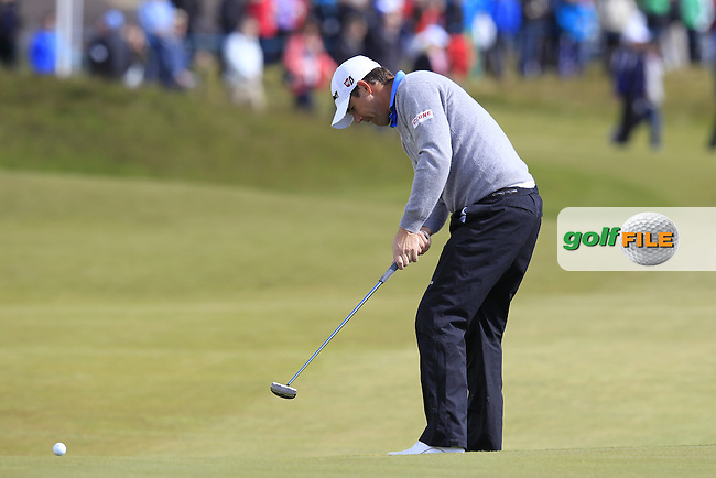 Padraig HARRINGTON (IRL) putts on the 18th green during Friday's Round 2 of the 2015 Dubai Duty Free Irish Open, Royal County Down Golf Club, Newcastle Co Down, Northern Ireland 5/29/2015<br />  Picture Eoin Clarke, www.golffile.ie
