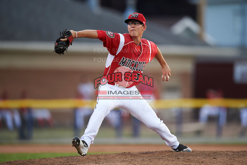 Batavia Muckdogs relief pitcher Shane Sawczak (33) during a game against the Brooklyn Cyclones on July 5, 2016 at Dwyer Stadium in Batavia, New York.  Brooklyn defeated Batavia 5-1.  (Mike Janes/Four Seam Images)