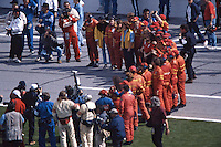 Crewmembers agether to greet the #30 Ferarri 333SP of  Gianpiero Moretti, Arie Luyendyk, Mauro Baldi, and Didier Theys after it won the 24 Hours of Daytona, Daytona International Speedway, Daytona Beach, FL, February 1, 1998.  (Photo by Brian Cleary/www.bcpix.com)